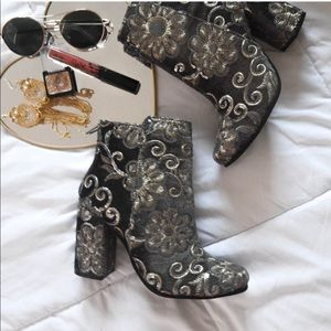 NWOT embroidered silver/ grey/ gold velvet booties